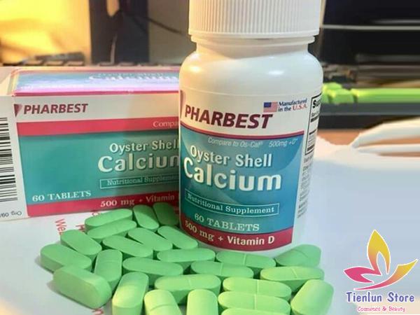 Viên uống bổ sung canxi chiết xuất vỏ hàu Oyster Shell Calcium Pharbest 500mg+ Vitamin D