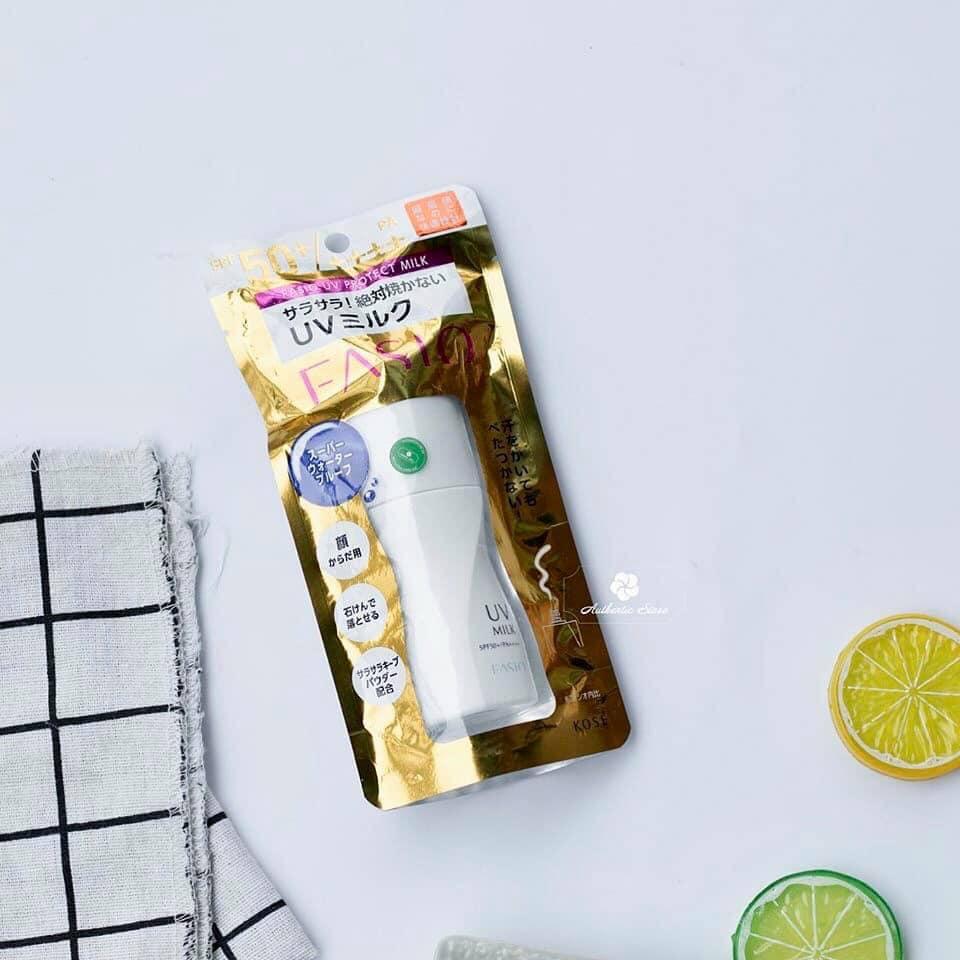 Chống nắng dạng sữa KOSE Fasio UV Protect Milk N ( waterproof) SPF 50+/ PA ++++ 40g